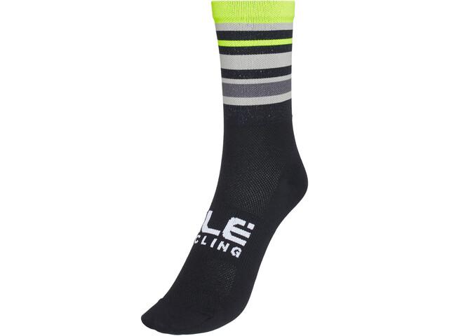Alé Cycling Stripes Q-Skin Socks 16cm Men, negro/amarillo